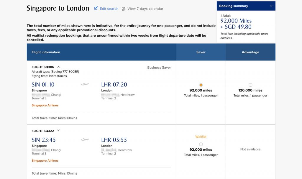 Flight selection for SIN-LHR