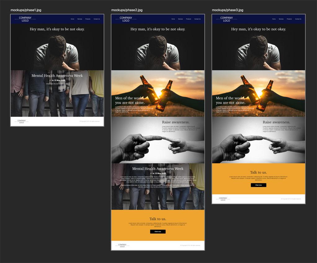 Modular page mockups