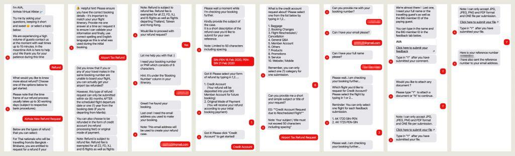 AirAsia chatbot conversation