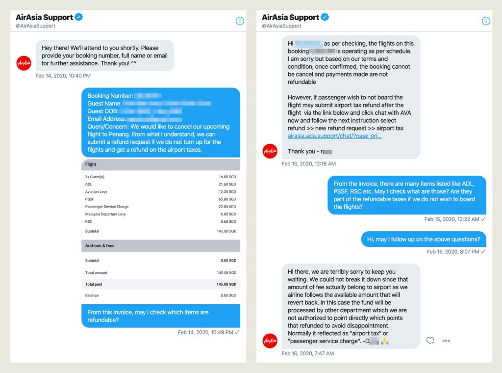 AirAsia Twitter support conversation